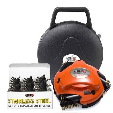 GRILLBOT AUTOMATIC GRILL AND BBQ CLEANER-WITH CARRY CASE AND STAINLESS STEEL BRUSHES BUNDLE